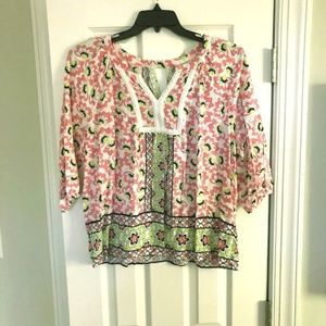 Crown & Ivy Pink & Green Cut Out Tunic Blouse Sz L